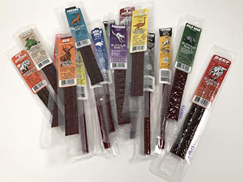 Buffalo Bob's Wild Game Jerky- Sampler Gift Pack of 25