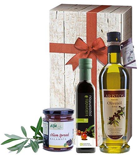 3tlg griechisches Olivenöl Geschenk-Set | Bio Essig | Extra Natives Olivenöl | Schwarze Tapenade | Geschenkkarton mit Holzoptik und Schleife | ARISTOS (Olivenöl, Essig & Tapenade)