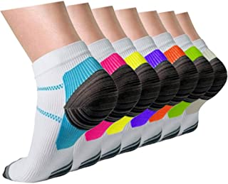 Compression Socks for Women & Men Circulation - Plantar Fasciitis Crew Socks Best Support for Athletic Running Cycling