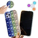 Tikapo Fidget Toys Funda de silicona impermeable para teléfono (azul blanco) para iPhone y Push Pop Bubble Fidget Sensory Toy Spinner (iPhone 11)