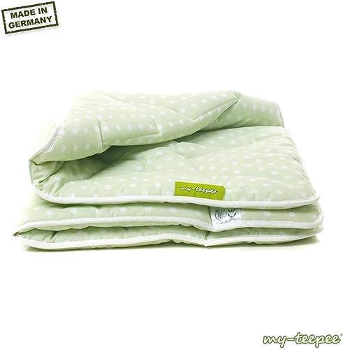 My-teepee Couverture Matelassée Réversible pour Enfants Motif étoiles Coton Oeko-Tex 100 vert blanc 135 X 100 cm