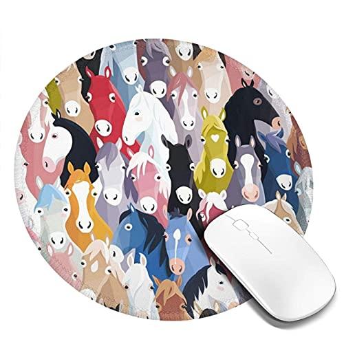 Alfombrilla de ratón redonda con estampado de caballos de dibujos animados coloridos, alfombrilla de ratón para ordenador de sobremesa, portátil, alfombrilla de ratón personalizada para juegos