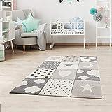 Fashion4Home Kinderteppiche Patchwork Herz Sterne Wolke   Kinderteppich für Mädchen und Jungs   Teppich für Kinderzimmer   Farbe: Blau, Grau & Rosa   Schadstofffrei Kinderzimmerteppich