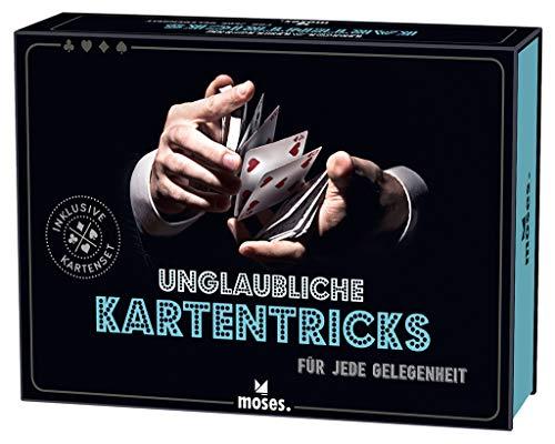moses. Verlag GmbH 28032 Unglaubliche Kartentricks für Jede Gelegenheit kleine Kartenmagier | Inkl. modernem Kartenset und Ringbuch-Anleitung, bunt