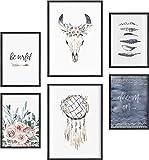 Deko Bilder für das Wohnzimmer modern und angesagt, Premium Poster Set » Bohemian « tumblr Deko Wand Bild, Dekoration Wohnung modern, Deko Schlafzimmer, Zimmer Deko OHNE BILDERRAHMEN