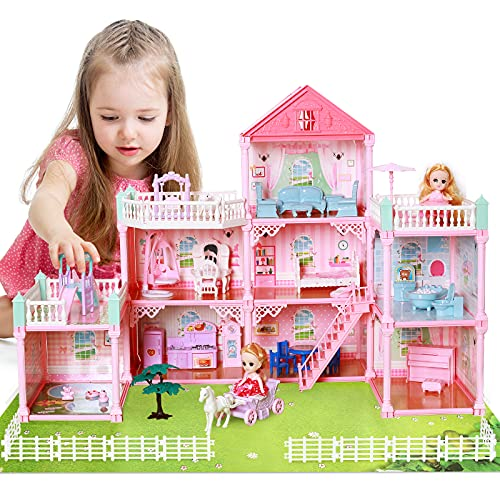 Cute Stone Dollhouse, Doll Dream House with Flashing Lights, Pretend Play Toddler Dollhouse Sets with 2 Dolls, Furniture, 8 Rooms and Doll Accessories, Creative Gift for Girls, L32 xH23
