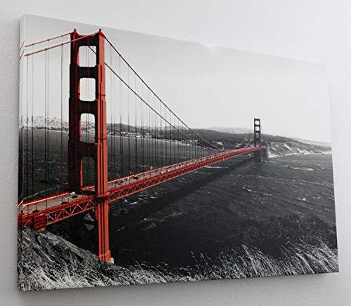 Golden Gate Bridge Rot Brücke Leinwand Bild Wandbild Kunstdruck L0755 Größe 100 cm x 70 cm