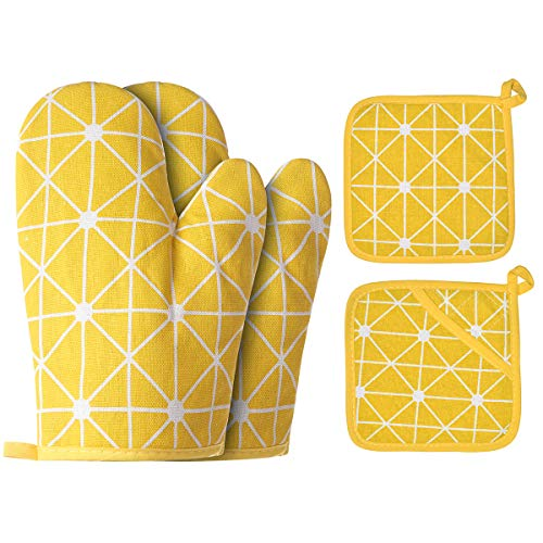 WinChange Oven Mitts and Potholders BBQ Gloves-Oven Mitts and Pot Holders with Recycled Cotton Infill Silicone Non-Slip Cooking Gloves for Cooking Baking Grilling (4-Piece Set,Yellow)