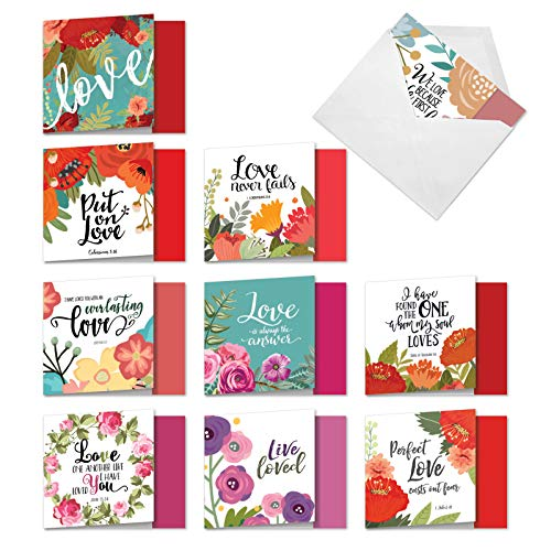 The Best Card Company - 10 Blank Inspirational Note Cards Boxed (4 x 5.12 Inch) - Perfect Love Quotes MQ5654OCB-B1x10