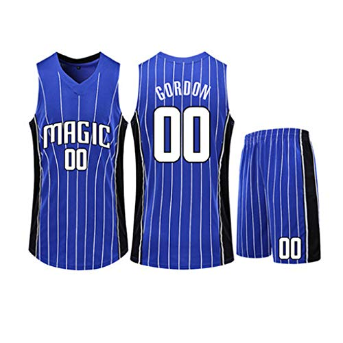 XSJY Set Basketball Trikots - NBA Orlando Magic # 00 Aaron Gordon Basketball Jersey Sommer Gesticktes Hemd Weste Shorts Für Fitness, Training, Radfahren,Blau,M:155~159CM