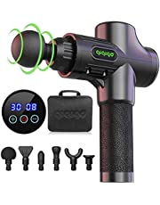 QIQIGO Massage Gun Deep Tissue,30 Speed Level Cordless Portable Handheld Electric Percussion Muscle Massager Gun with 6 Massage Heads for Muscle Pain, Soreness, and Stiffness Relief