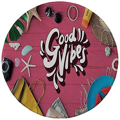 Rubber ronde muismat, goede vibraties, positieve motivatie inspiratie concept watermeloen vakantie items op tafel foto decoratieve