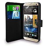 SS Tech - Funda tipo cartera para HTC One M9 (piel sintética, tarjetero, cierre magnético), color negro