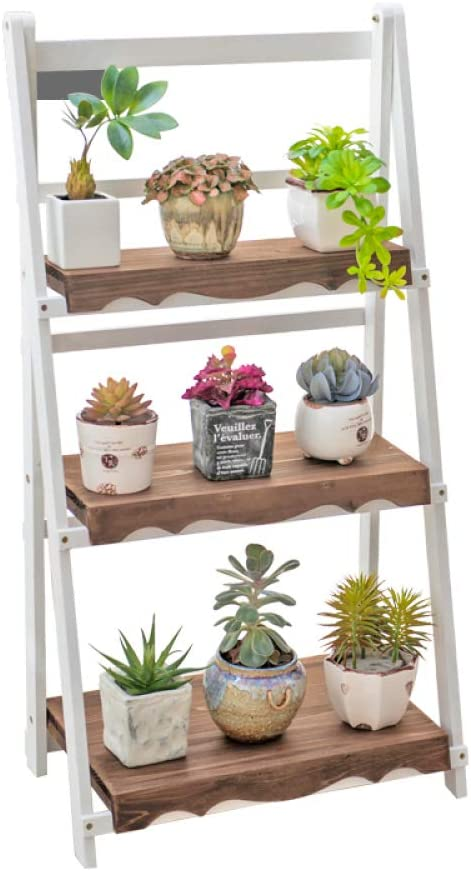 Wood Max 48% OFF Award Floor Flower Pot 3-Story Stand Storage Folding Solid Wooden