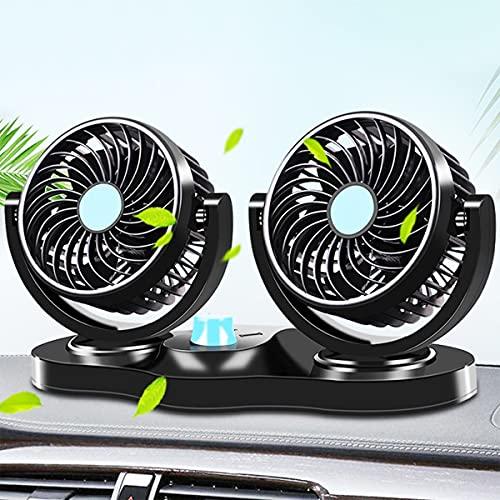 GvvcH 12V 24V Ventilatore Auto Ventola a Doppia Testa di Raffreddamento Ad Aria Ventola per Auto a Bassa Rumorosità Regolabile a 360 Gradi,12V