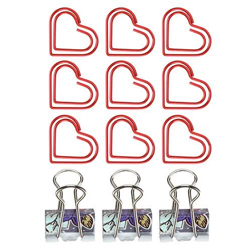 Pappersklämmor, fina utsökta metallpärmklämmor, enkla attraktiva för dokument Reklamblad Affischer Kuvert(Red heart)