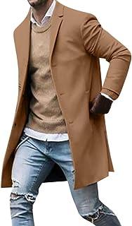 Surfiiy Giacca da Uomo Lungo Casual Cappotto Cammello Antivento Giacca a Vento Elegante Blazer Uomo Invernale Cotone Cappo...