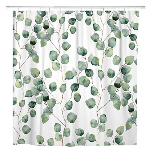 ArtSocket Shower Curtain Watercolor Green Floral Eucalyptus Round Leaves Pattern Branches Home Bathroom Decor Polyester Fabric Waterproof 72 x 72 Inches Set with Hooks