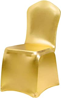 Desirable Life Bronzing Gold Print Flower Stretch Spandex Dining Room Chair Slipcovers Seat Cover Protector Removable Washable for Home Decor Ceremony Hotel Wedding Banquet