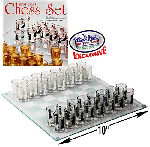 Matty's Toy Stop Small Shot Glass Chess Set Drinking Game Set (10' x 10') with Plastic Shot Glasses (1.5') and Glass Game Board - Drunken Chess