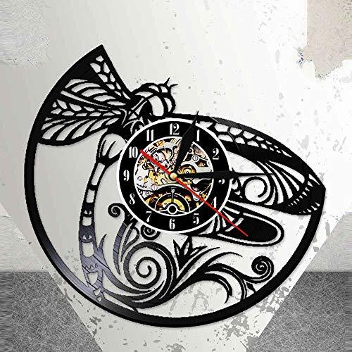 7 Colores libélula 3D Led Pared luz Nocturna libélulasReloj de Vinilo Real Reloj Animales Abstractos Naturaleza Regalo Original
