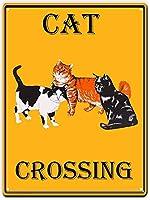 Cat Crossing 金属板ブリキ看板警告サイン注意サイン表示パネル情報サイン金属安全サイン