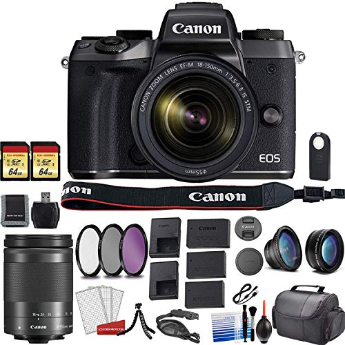 Canon EOS M5 Mirrorless Digital Camera with Canon 18-150mm Lens Bundle Kit with 2X 64GB Memory Cards + 2X Spare Batteries + Travel Charger + More