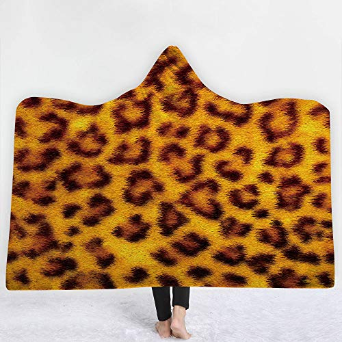YJZ Couverture à Capuche série de Peaux d'animaux imprimé 3D Manteau Double Couche Couche Chaude Peluche Couverture TV Sherpa Femmes et Fille, Cadeau Chaleureux ami de la Famille, Personnalisable