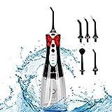 Zuukoo Irrigador dental eléctrico inalámbrico, 320 ml, recargable, irrigador bucal eléctrico, resistente al agua, IPX7, con 3 modos y 5 boquillas, aprobado por la FDA