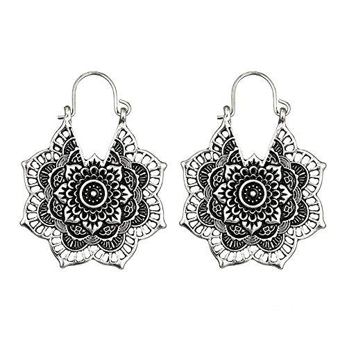 Innerternet Damen Anhänger Ohrringe,Antike Silberne Gypsy Indian Tribal Ethnic Hoop baumeln Mandala Ohrringe Boho Lange Ohrringe aus Metall,Matte Trend Trapezförmige Ohrringe