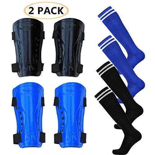Haploon 2 Pair Knee Shin Guards Soccer Football Shin Pads Protector Calf Knee Protective Gear for 5-10 Old Kids, Teenagers, Boys, Girls, with 2 Pair Long Sleeve Soccer Socks