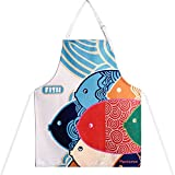 PHANTOMON Aprons for Women Cartoon Japanese Style Lovely Fish Print Chef Kitchen Cooking Funny Aprons With Adjustable Neck Strap