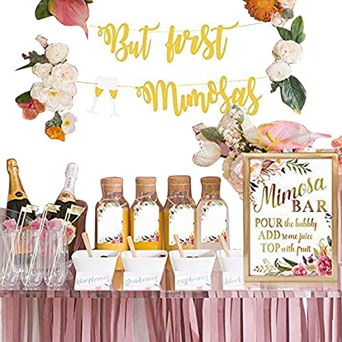 MORDUN Mimosa Bar Sign Banner Tags - Gold Floral Decorations for Bridal Shower Bubbly Bar Champagne Baby Shower Wedding Birthday Party Graduation Fiesta