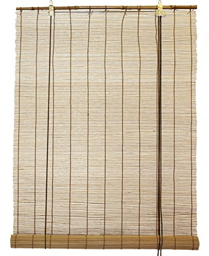 Natural Bamboo Matchstick Roll Up Window Blind 24-Inch Wide by 72-Inch Length (Light Brown)