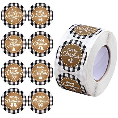 600 Pieces Merry Christmas Stickers Buffalo Plaid Kraft Stickers 2 inch Christmas Round Labels for Decoration Present Sealing, 8 Styles (White and Black Plaid)