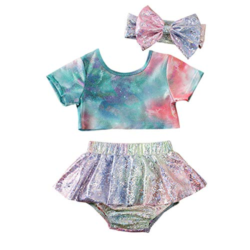 Carolilly Completo Bambina Tuta Neonata Estivo Maglietta Senza Manica Stampa Floreale+Pantaloncini in Pizzo+Facia