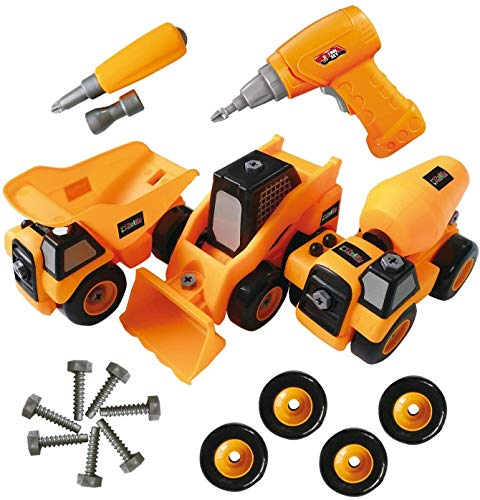 Toyvelt Construction Take Apart Trucks Stem Learning Take Apart Toys With Electric Drill - Dump Truck, Cement Truck & Digger Toy, With Drill Included, Great Gift For Boys & Girls Ages 3 - 12 Years Old