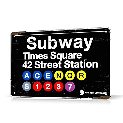 SIGNCHAT Blechschild New York Subway Times Square Manhattan Ny, Vintage, Retro, 20,3 x 30,5 cm