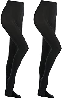 MANZI- 2 Pairs 400 Denier Black Tights Women's Thermal Warm Fleece Opaque Tights