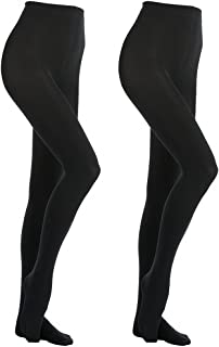 Women's 2 Pairs Super Opaque with Fleece Soft Black Tights 400 Denier