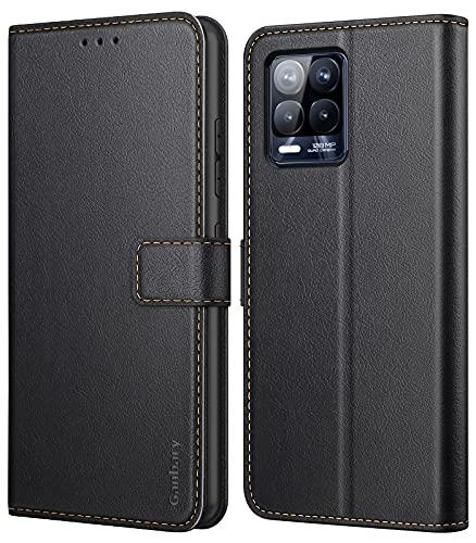Ganbary Handyhülle für Realme 8 / Realme 8 Pro 4G Hülle, Premium Leder Tasche Flipcase [Kartenschlitzen] [Magnetverschluss] [Standfunktion] kompatibel mit Realme 8/8 Pro 4G Schutzhülle, Schwarz