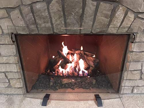 For Sale! Design Specialties Curved Glass Free Standing Fireplace Screen 44 X 32, Clear Glass, Dark ...