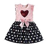 DXTON Mädchen Kleider Pailletten Muster Winter Langarm Kleidung Party Kids Kleid RosaSh5740 4T