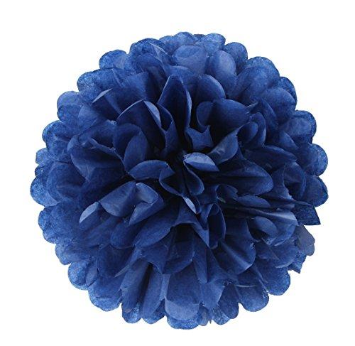 10 Pcs Tissue Paper Pom Poms Flowers for Wedding, Birthday Party, Baby Shower, Nursery Decor, Bachelorette Party Hanging Decor, Easy Joy (10 inch, Navy Blue)