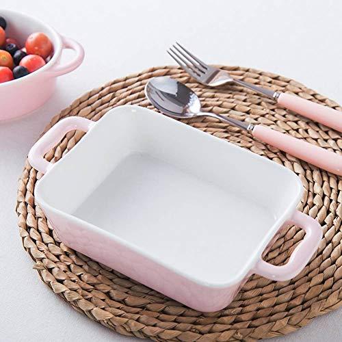 CYGGA Backblech Rechteckig/Oval Auflaufform, Backofen Nach Hause Keramik Binaural KäSereisschale Italienische Lasagne Schale - Pink, Blau