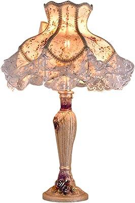 LKJCZ Europeo Retro Princesa jardín Encaje lámpara de Mesa ...