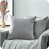 Topfinel Juego 2 Fundas Cojines Hogar Algodón Lino Decorativa Chenilla Almohadas Fundas de Color sólido para Sala de Estar sofás Gris 50x50cm