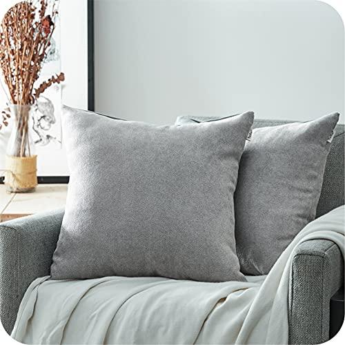 Topfinel Juego 2 Fundas Cojines Hogar Algodón Lino Decorativa Chenilla Almohadas Fundas de Color sólido para Sala de Estar sofás Gris 60x60cm