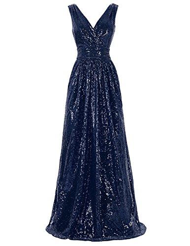 Kate Kasin Damen Pailletten Abendkleid Ärmellos Homecoming Kleid Maxikleid KK199,Kk199-7(navyblau),46 EU
