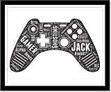 Gamer Gifts for Teenage Boys, Personalized Prints Typography Wordle Word Art Video Game Controller, Gaming room decor